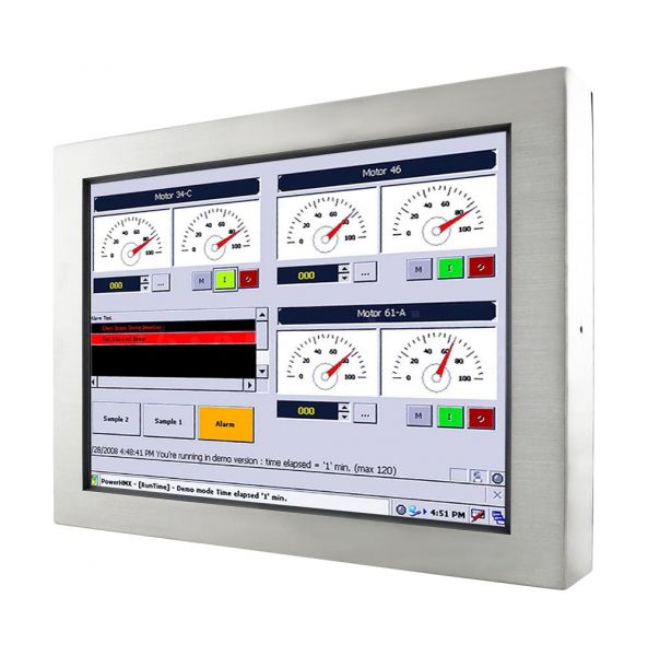 01-Industrie-Panel-PC-IP65-Edelstahl-W24IB3S-65A2 / TL Produkt-Welten / Panel-PC / Chassis Edelstahl (VESA-Mounting) / Touch-Screen für 1-Finger-Bedienung