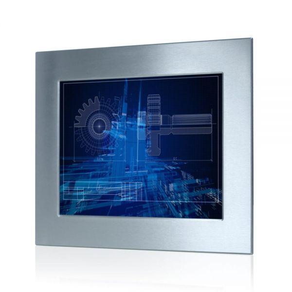 01-Einbau-Industriemonitor-WM15PME-Edelstahl-IP65 / TL Produkt-Welten / Panel-PC / Panel Mount (Einbau von vorne) / Touch-Screen für 1-Finger-Bedienung