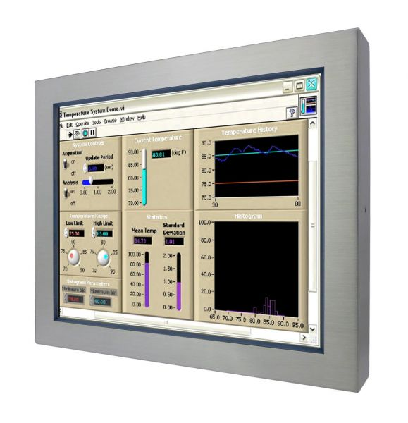 Front-right-WM 17-V-ES-GS / TL Produkt-Welten / Industriemonitor / Chassis Edelstahl (VESA-Mounting) / ohne Touch-Screen